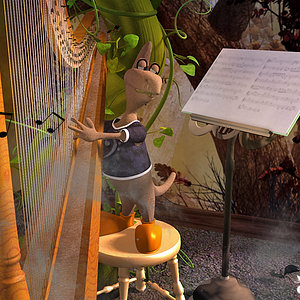 Third Place - Thingy Playing Harp by Stezza.jpg