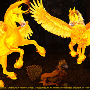 Emissive Winged Horse, Pegasus and Hippogryph