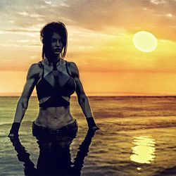 Lara Croft in the ocean