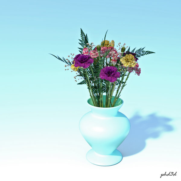 Flowers On Pale Blue By Phd3d