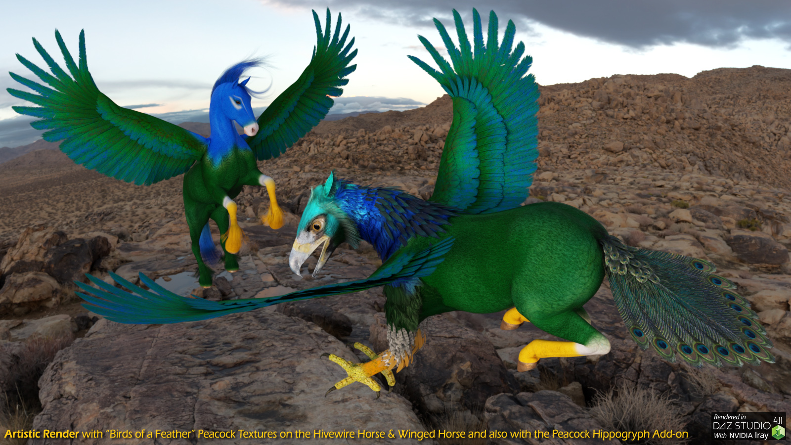 Peacock Winged Horse and Hippogryph